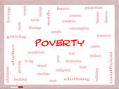 Poverty Word Cloud Concept on a Whiteboard — Stock Photo