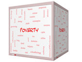 Poverty Word Cloud Concept on a 3D cube Whiteboard — Foto Stock