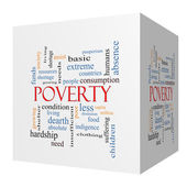 Poverty 3D cube Word Cloud Concept — Stock Photo