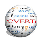 Poverty 3D sphere Word Cloud Concept — Stock Photo
