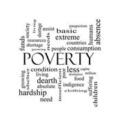 Poverty Word Cloud Concept in black and white — Stock fotografie