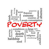 Poverty Word Cloud Concept in red caps — Stock Photo