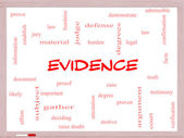Evidence Word Cloud Concept on a Whiteboard — Stock Photo
