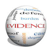 Evidence 3D sphere Word Cloud Concept — Stock Photo