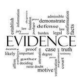Evidence Word Cloud Concept in black and white — Stock Photo