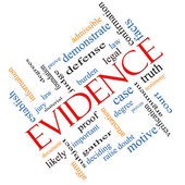 Evidence Word Cloud Concept Angled — Stock Photo