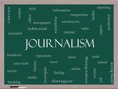 Journalsim sözcüğü bulut kavramı üzerine bir yazı tahtası — Stok fotoğraf