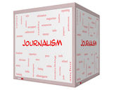 Journalsim Word Cloud Concept on a 3D cube Whiteboard — Foto de Stock
