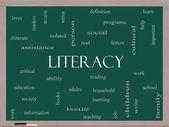 Literacy Word Cloud Concept on a Blackboard — Stock Photo