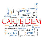 Carpe Diem Word Cloud Concept — Stock Photo