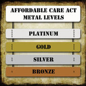 Grunge ACA or Affordable Care Act Metal Levels — Stock Photo