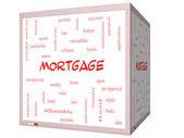 Mortgage kelime bulutu kavramı üzerinde bir 3d küp beyaz tahta — Stok fotoğraf