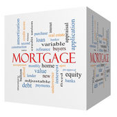 Mortgage 3D cube Word Cloud Concept — Stock Photo