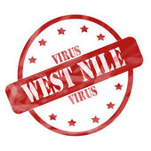 Red Weathered West Nile Virus Stamp Circle and Stars — Stock Photo