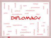 Diplomacy Word Cloud Concept on a Whiteboard — Stock Photo
