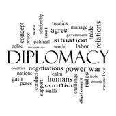 Diplomacy Word Cloud Concept in black and white — Stock Photo