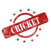 Röd väderbitna cricket stämpel cirkel och stjärnor i design — Stockfoto