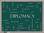 Diplomacy Word Cloud Concept on a Blackboard — Stock Photo