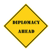 Diplomacy Ahead Sign — Stock Photo