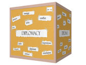 Diplomacy 3D cube Corkboard Word Concept — Stock Photo