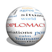 Diplomacy 3D sphere Word Cloud Concept — Stock Photo