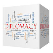 Diplomacy 3D cube Word Cloud Concept — Stock Photo