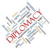 Diplomacy Word Cloud Concept Angled — Stock Photo