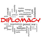 Diplomacy Word Cloud Concept in red caps — Stock Photo