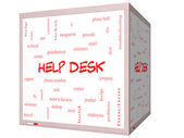 Help Desk Word Cloud Concept on a 3D cube Whiteboard — Stock Photo