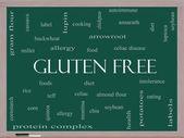 Gluten Free Word Cloud Concept on a Blackboard — Stock Photo