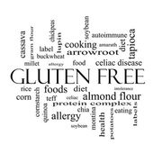 Gluten Free Word Cloud Concept in black and white — Stock Photo