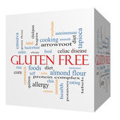Gluten Free 3D cube Word Cloud Concept — Stock Photo
