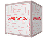 Immigration Word Cloud Concept on a 3D Whiteboard — Stock Photo