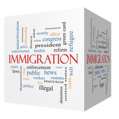 Immigration 3D cube Word Cloud Concept — Stock Photo
