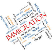 Immigration Word Cloud Concept Angled — Stock fotografie