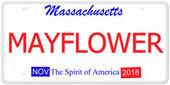 Massachusetts Mayflower License Plate — Stock Photo
