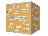 Public Relations 3D cube Corkboard Word Concept — Zdjęcie stockowe