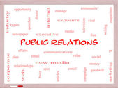 Public Relations Word Cloud Concept on a Whiteboard — Foto Stock