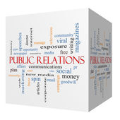 Public Relations 3D cube Word Cloud Concept — Foto de Stock