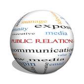 Public Relations 3D sphere Word Cloud Concept — Stock Photo
