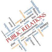 Public Relations Word Cloud Concept Angled — Stock Photo