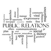 Public Relations Word Cloud Concept in black and white — Zdjęcie stockowe