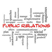 Public Relations Word Cloud Concept in red caps — Foto Stock