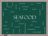 Seafood Word Cloud Concept on a Blackboard — Stock Photo