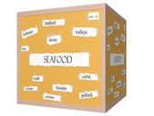 Seafood 3D cube Corkboard Word Concept — Stock Photo