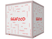 Seafood Word Cloud Concept on a 3D cube Whiteboard — Stock Photo