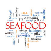 Seafood Word Cloud Concept — Stock Photo