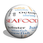 Seafood 3D sphere Word Cloud Concept — Stock Photo