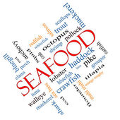 Seafood Word Cloud Concept Angled — Stock Photo