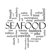 Seafood Word Cloud Concept in black and white — Stock Photo